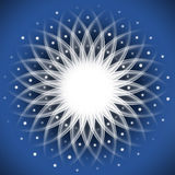 White ornament. Abstract blue background with white ornament Stock Photo