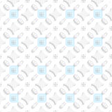 White ornament with blue squares seamless Royalty Free Stock Image