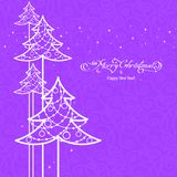 White ornamental tree. Stylized ornamental christmas tree on lilac background Royalty Free Stock Photo