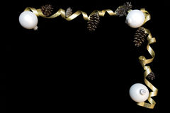 White ornaments and gold ribbon Royalty Free Stock Image