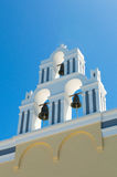White orthodox church bell tower. Oia, Santorini Greece. Copyspace Stock Photo