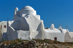 White orthodox church and blue sky in Mykonos, Islands, Greece Royalty Free Stock Images