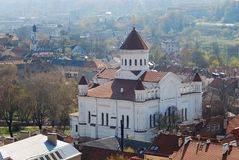 White orthodox church in the capital of Lithuania. Royalty Free Stock Photos