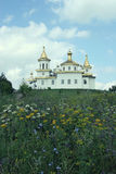 White orthodox church with domes amidst summer meadow Stock Photo