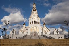 Church in europe. White Orthodox Church in Europe. The building of the cathedral Royalty Free Stock Image