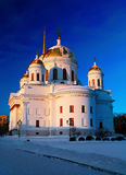 White orthodox church with gold domes against  blue winter sky Royalty Free Stock Photos