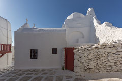 White orthodox church and houses in Mykonos,  Greece Royalty Free Stock Photography