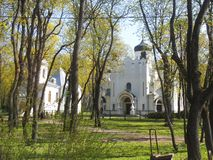 Orthodox church in a park in Kaunas Lithuania. stock photo