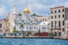 White orthodox church on the seaside in Havana, Cuba Royalty Free Stock Image
