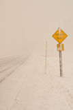 White Out. Blizzard conditions in cause a white out in Montana royalty free stock image