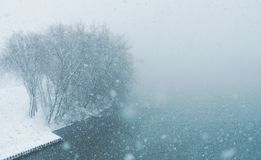Blizzard Nor`easter march 13 2018 in Hartford Connecticut New England. White out conditions during blizzard in winter in Hartford Connecticut park blue Stock Photography