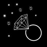 White Outline Diamond Ring with Sparkles. Vector Illustration Royalty Free Stock Photography