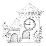 White outline fairy house Royalty Free Stock Photos