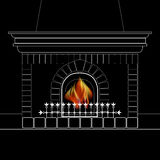 White outline of the fireplace and flame  on black. Vector illustration with a white outline of the fireplace and flame  on black background Royalty Free Stock Images