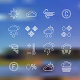 White outline forecast icons set landscape background Royalty Free Stock Photo