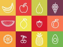 White outline fruit icon set. White stroke fruits centered in colorful squares. stock illustration