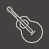 White outline guitar icon Royalty Free Stock Images