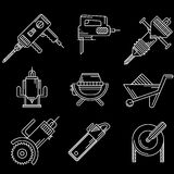 White outline icons for construction equipment Stock Photos