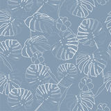 White outline palm leaves on the light blue  background. Vector seamless pattern. Tropical illustration. Jungle foliage Royalty Free Stock Photography