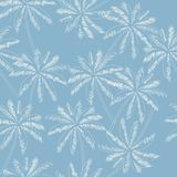 White outline palm trees on the light blue  background. Vector s. Eamless pattern. Tropical illustration. Jungle foliage Royalty Free Stock Image