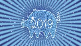 A white outline of a pig against a starry sky and rotating rays. The pig is a symbol of 2019. Year of the yellow pig. Eastern horo stock video footage