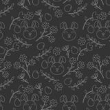 White outline seamless pattern with easter bunny, flowers and eggs royalty free illustration