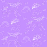 White outline unicorns with clouds and rainbow on a purple background. Hand-drawn seamless pattern with rainbow, unicorn, cloud, cake, sweets, flower Stock Photo