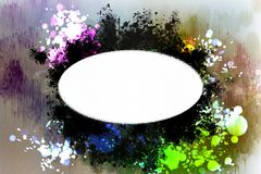 White oval banner on an abstract watercolor background. It can be used as background for creating collages and illustrations Stock Photo