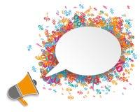 White Oval Speech Bubble Megaphone Percents Royalty Free Stock Photos