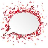 White Oval Speech Bubble Red Percents. White paper speech bubble with red percents on the white Stock Images