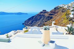 White overlooking rooftop terraces Santorini island Greece Royalty Free Stock Photography