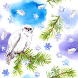 White owl bird. Repeating winter pattern, Watercolour. White owl bird. Repeating winter pattern with feathers, pine tree and snow flake. Watercolour royalty free illustration