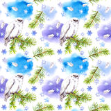 White owl bird and snow. Repeating winter pattern, Watercolour. White owl bird. Repeating winter pattern with feathers, pine tree and snow flake. Watercolour Royalty Free Stock Photos