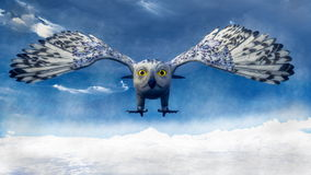 White owl diving - 3D render Stock Image