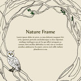 White Owl Frame Template. It is a template image of white owl and tree frame royalty free illustration