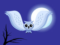 White owl. Snowy Owl flying on the background of the full moon royalty free illustration