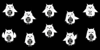 White owl vector with black background Royalty Free Stock Image