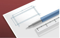 White pad with ball pen and ruler Stock Photos