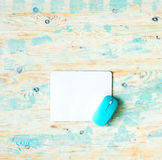 White pad with blue mouse Stock Image