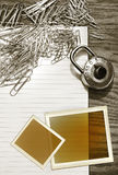 White pad with paper clips, school lock Stock Photo