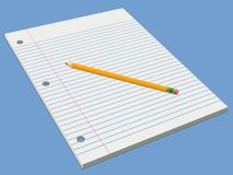 White Pad and Pencil. White lined pad of paper set against a blue background with a pencil on top.  Also available in vector format Stock Photography