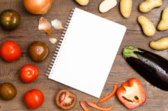White pad with text space and vegetable Royalty Free Stock Photo