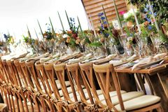 White-padded Brown Wooden Chairs Near Brown Table Outdoor royalty free stock photography