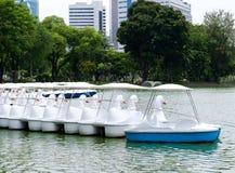 White paddle boats Royalty Free Stock Image