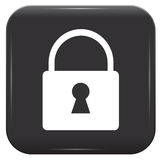 White padlock on black button Stock Photography