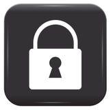 White padlock on black button royalty free illustration