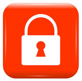 White padlock on red button Royalty Free Stock Photos