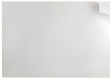 White Page Curl Background Isolated Horizontal Copy Space Closeup Stock Photo