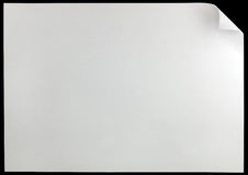 White page curl, isolated on black large horizontal copy space Stock Images