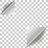 White page double corner curled for your design. White gradient paper curl with shadow  on transparent background. Vector Royalty Free Stock Photography